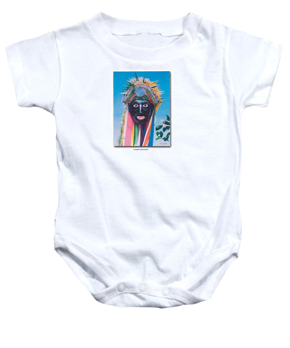 Michael Earney Baby Onesie featuring the painting Negrito Y Flor De Limon by Michael Earney