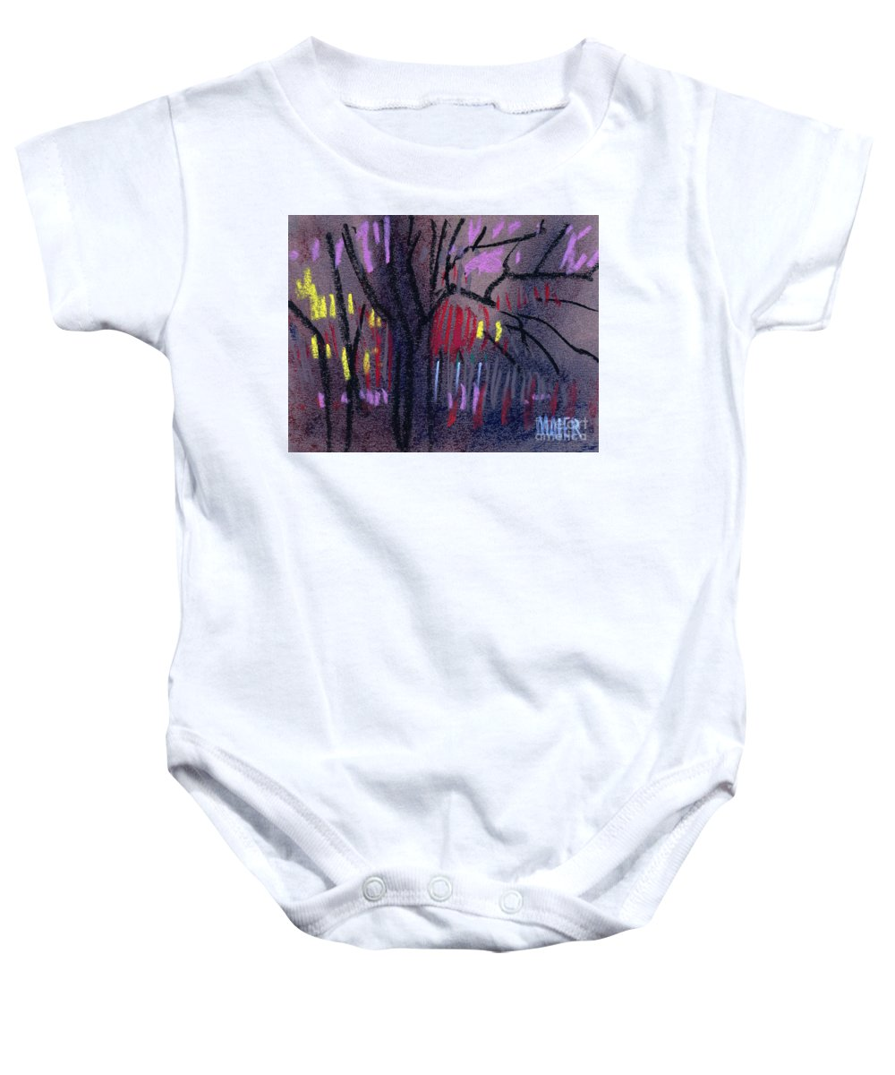 Abstract Baby Onesie featuring the drawing Neighbor's Lights by Donald Maier