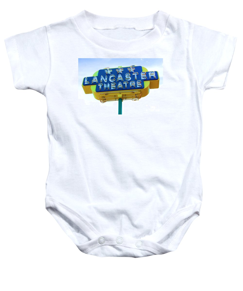 Sign Baby Onesie featuring the photograph Neon by Debbi Granruth
