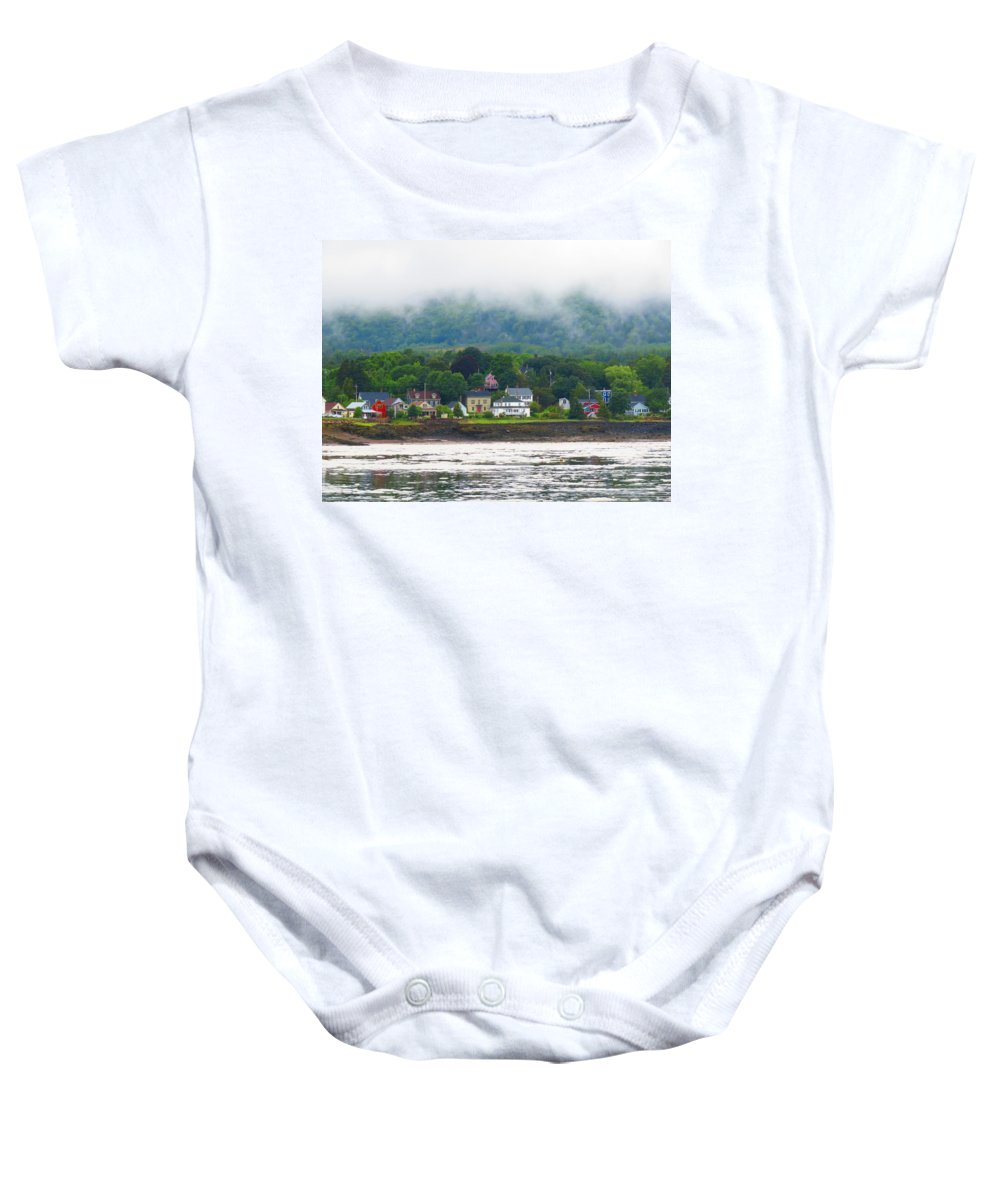 Baby Onesie featuring the photograph Granville Ferry Nova Scotia Canada Fog Lifting by Martha Huard
