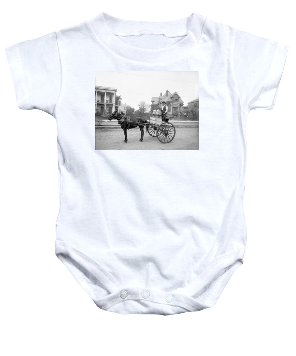 1905 Baby Onesie featuring the photograph New Orleans: Milk Cart by Granger
