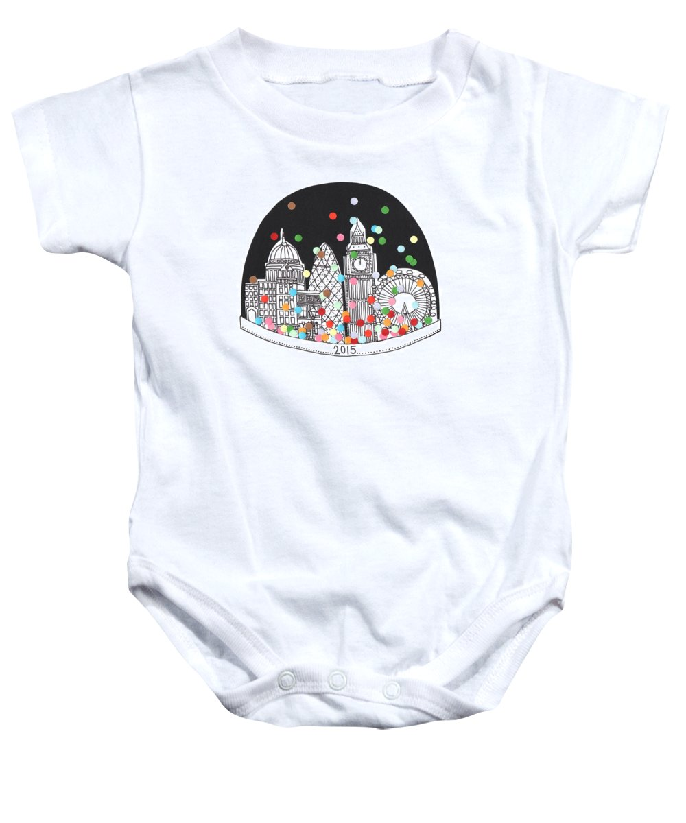 Happy New Year Baby Onesie featuring the drawing New Year by Isobel Barber