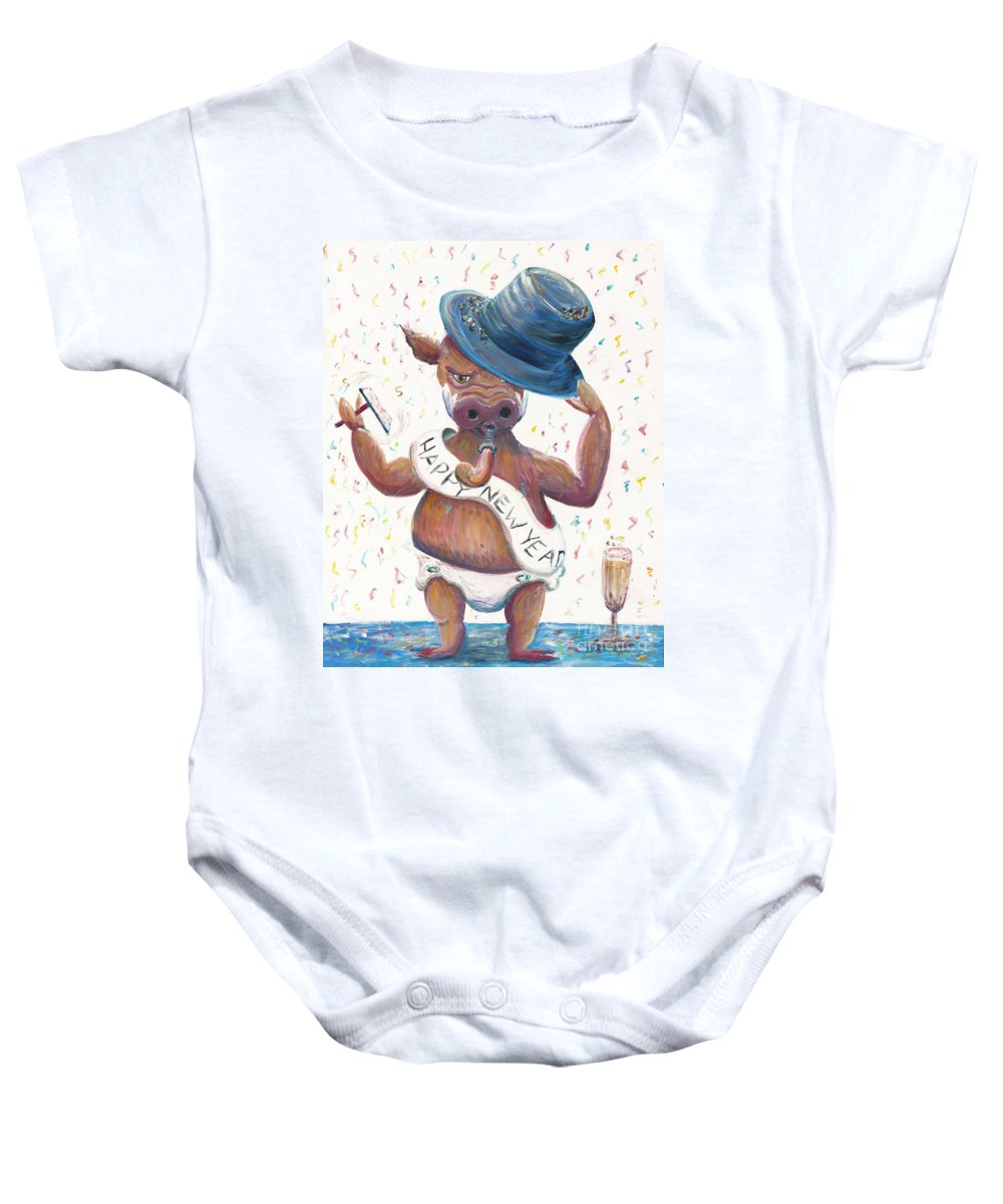 Hog Baby Onesie featuring the painting New Years Hog by Nadine Rippelmeyer