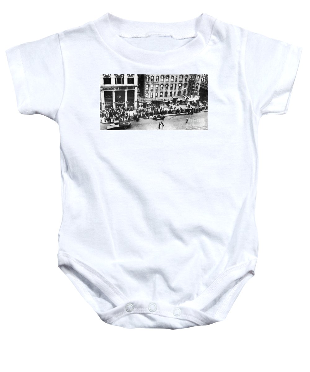 1930 Baby Onesie featuring the photograph New York: Bank Run, 1930 by Granger