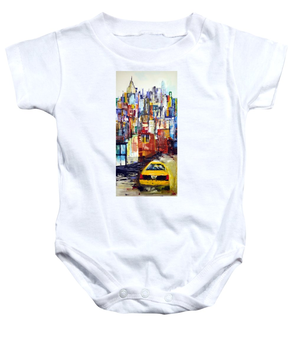 New York Baby Onesie featuring the painting New York Cab by Jack Diamond