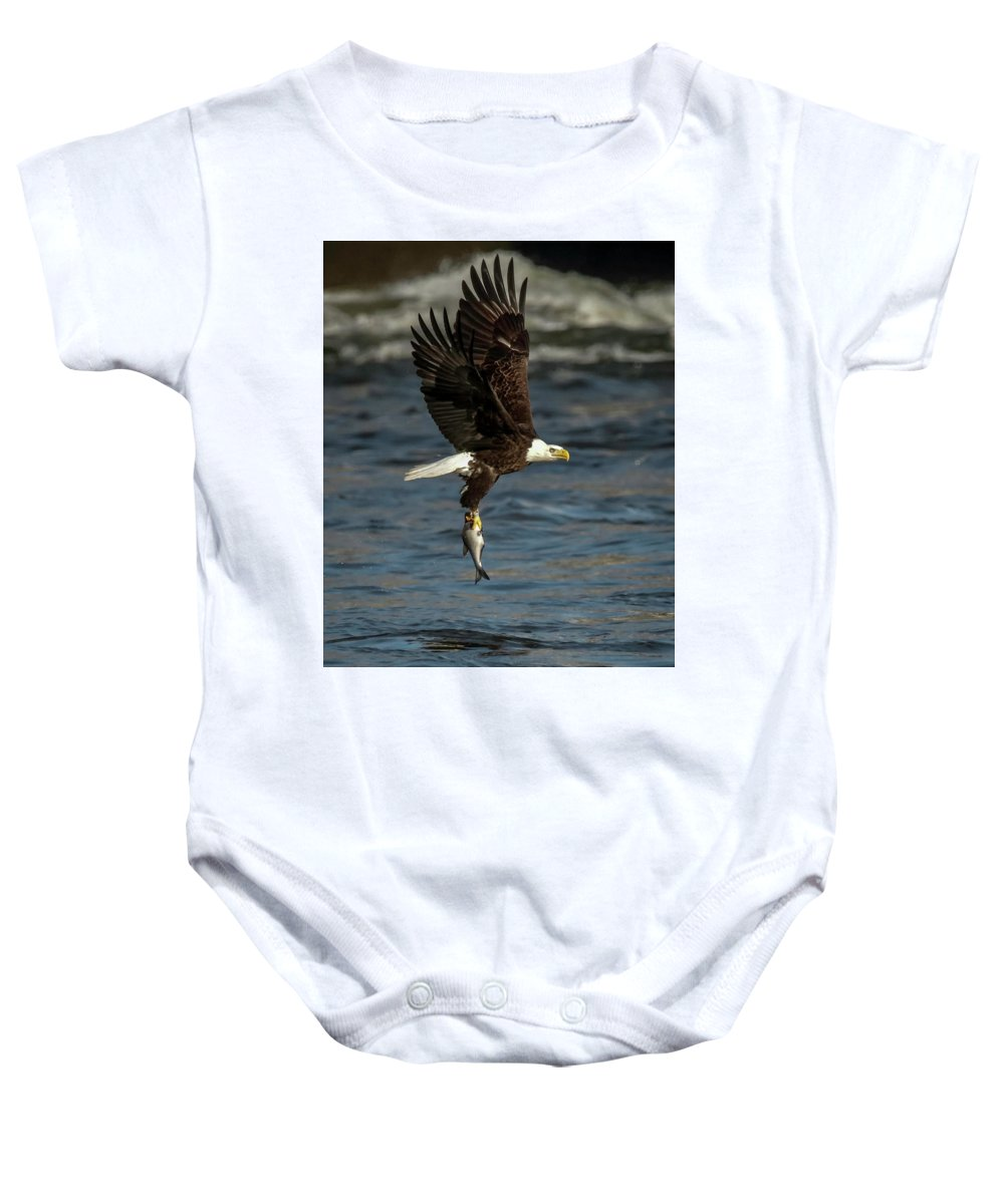 Bird Baby Onesie featuring the photograph Nice Catch by Travis Boyd