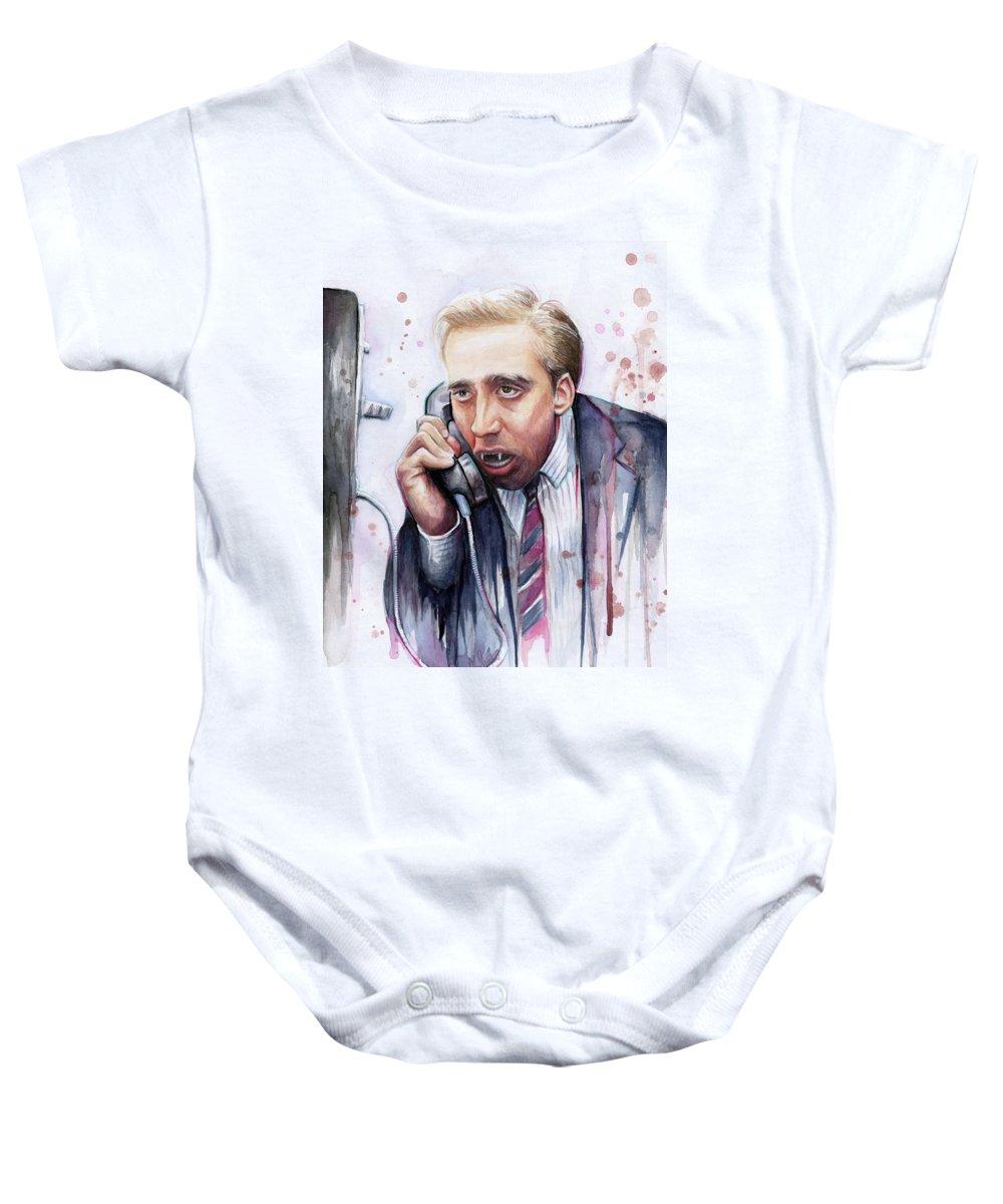 Nicolas Cage Baby Onesie featuring the painting Nicolas Cage A Vampire's Kiss Watercolor Art by Olga Shvartsur
