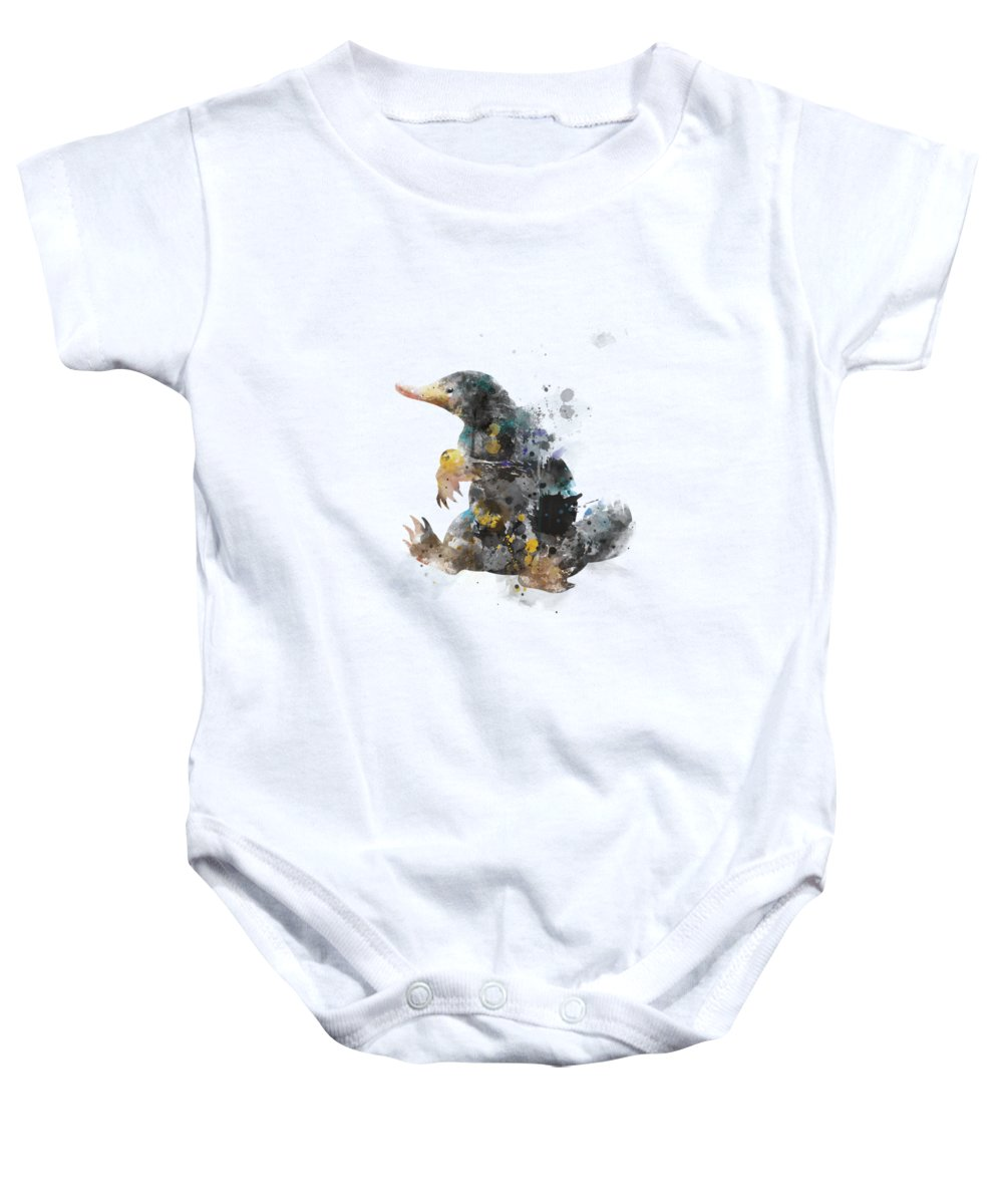 12282b2a2 Harry Potter Baby Onesie featuring the mixed media Niffler by Monn Print