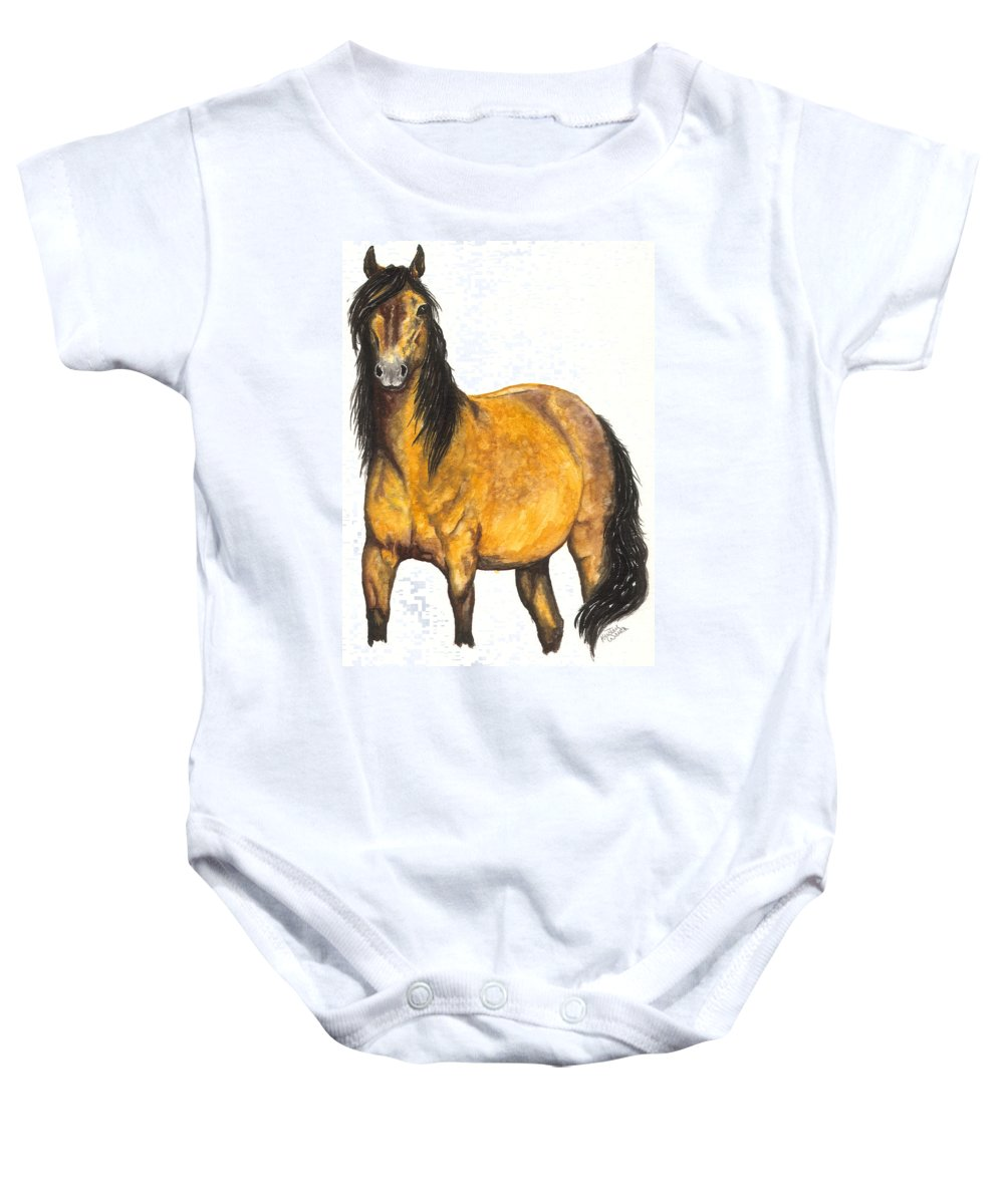 Horse Baby Onesie featuring the painting Nifty by Kristen Wesch