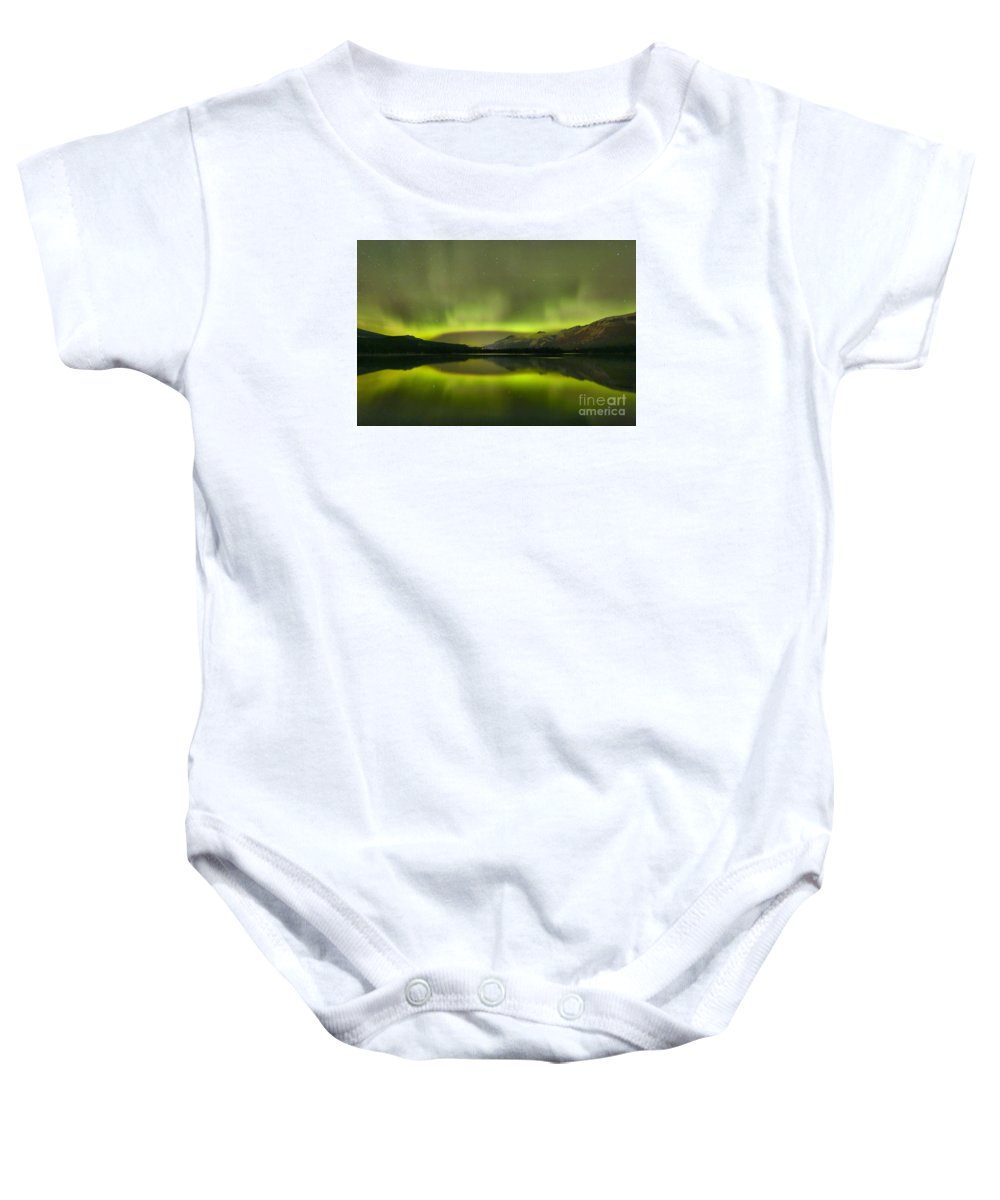 Canadian Northern Lights Baby Onesie featuring the photograph Night Sky Delight by Adam Jewell