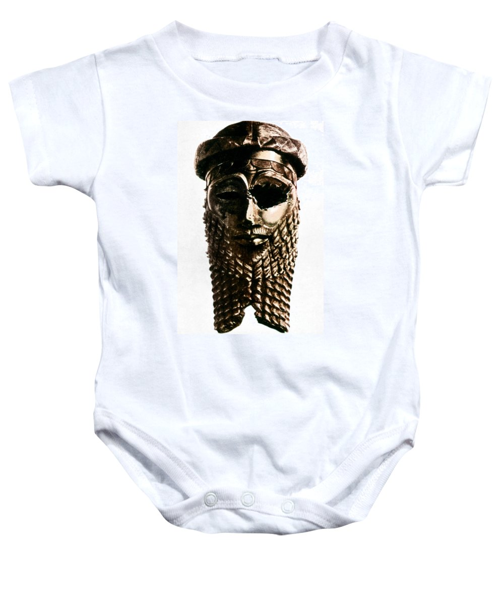 2350 B.c. Baby Onesie featuring the photograph Nineveh: Bronze Head by Granger