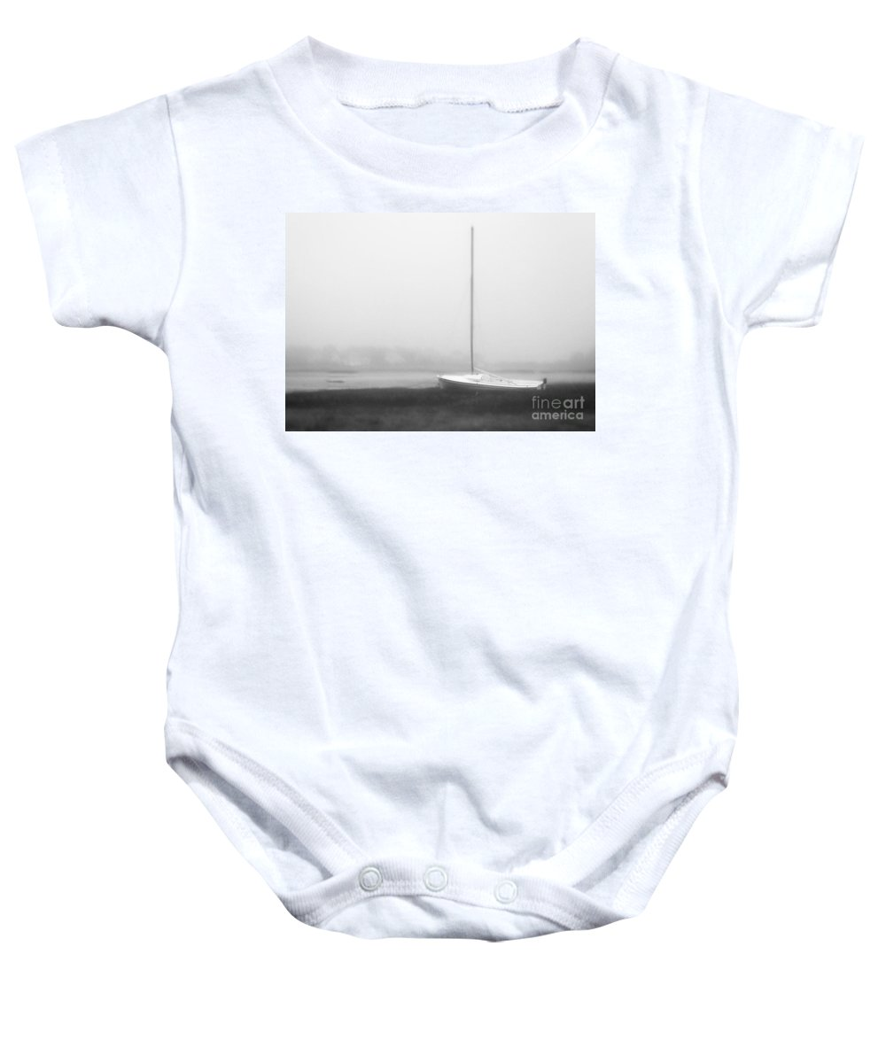 Abandon Baby Onesie featuring the photograph No Sailing Today Bw by Jerry Fornarotto