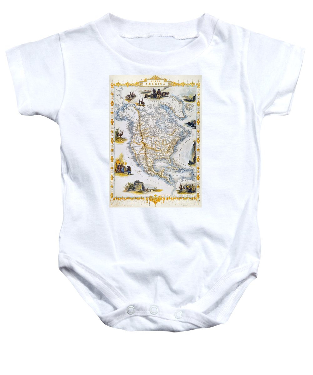 1851 Baby Onesie featuring the photograph North American Map, 1851 by Granger