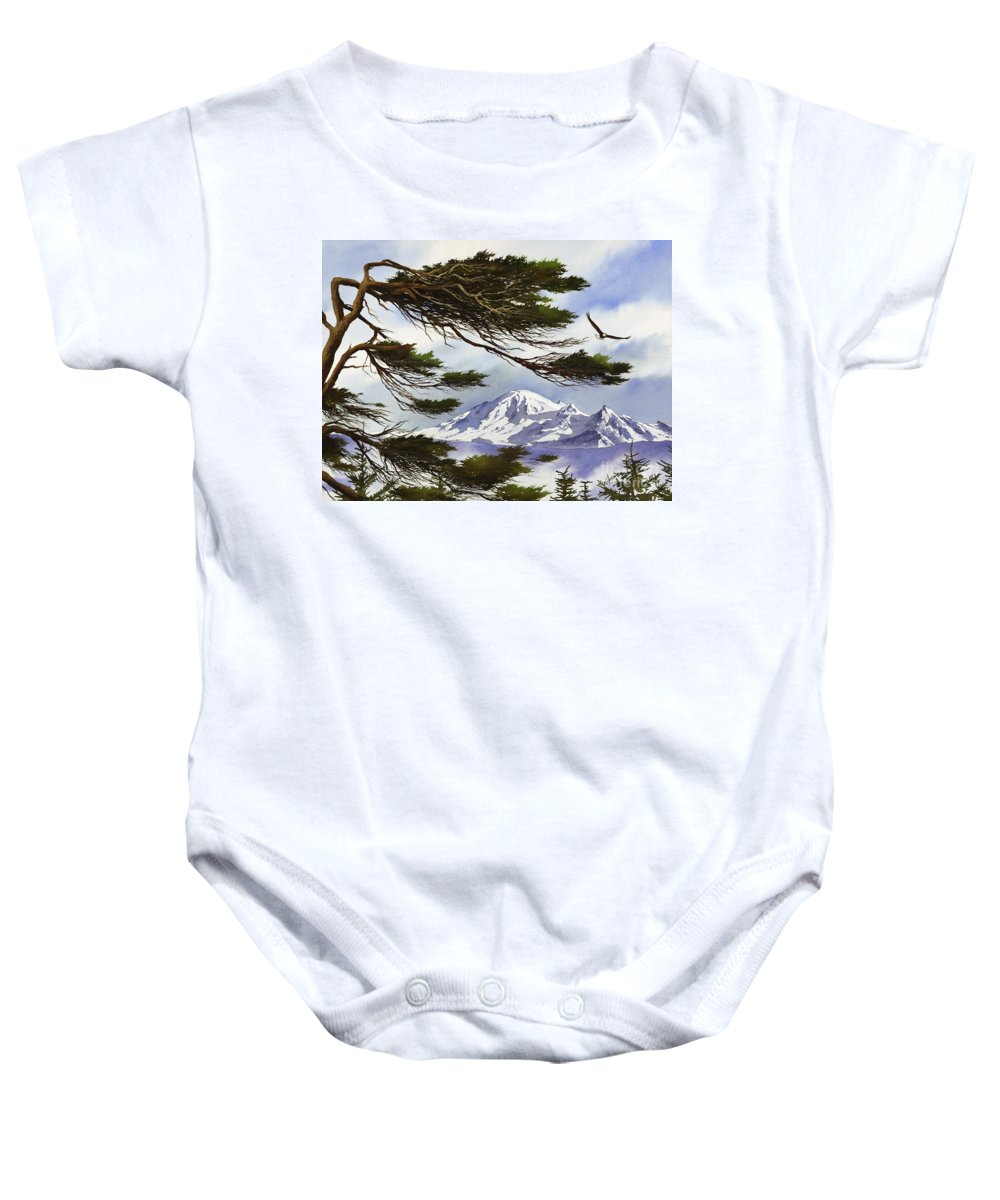 Landscape Fine Art Print Baby Onesie featuring the painting Northwest Majesty by James Williamson