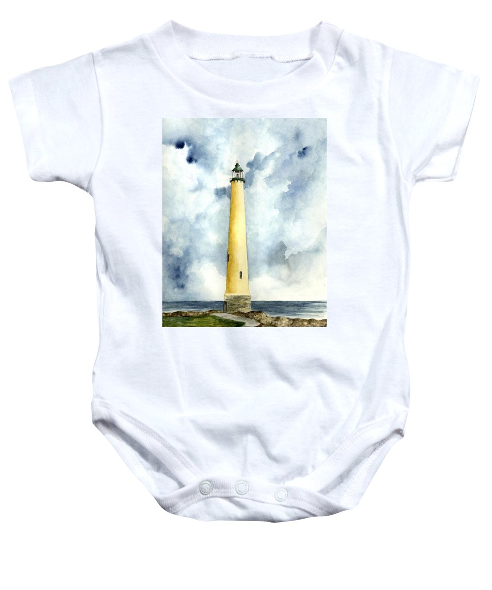 Lighthouse Baby Onesie featuring the painting Northwood Lighthouse by Michael Vigliotti