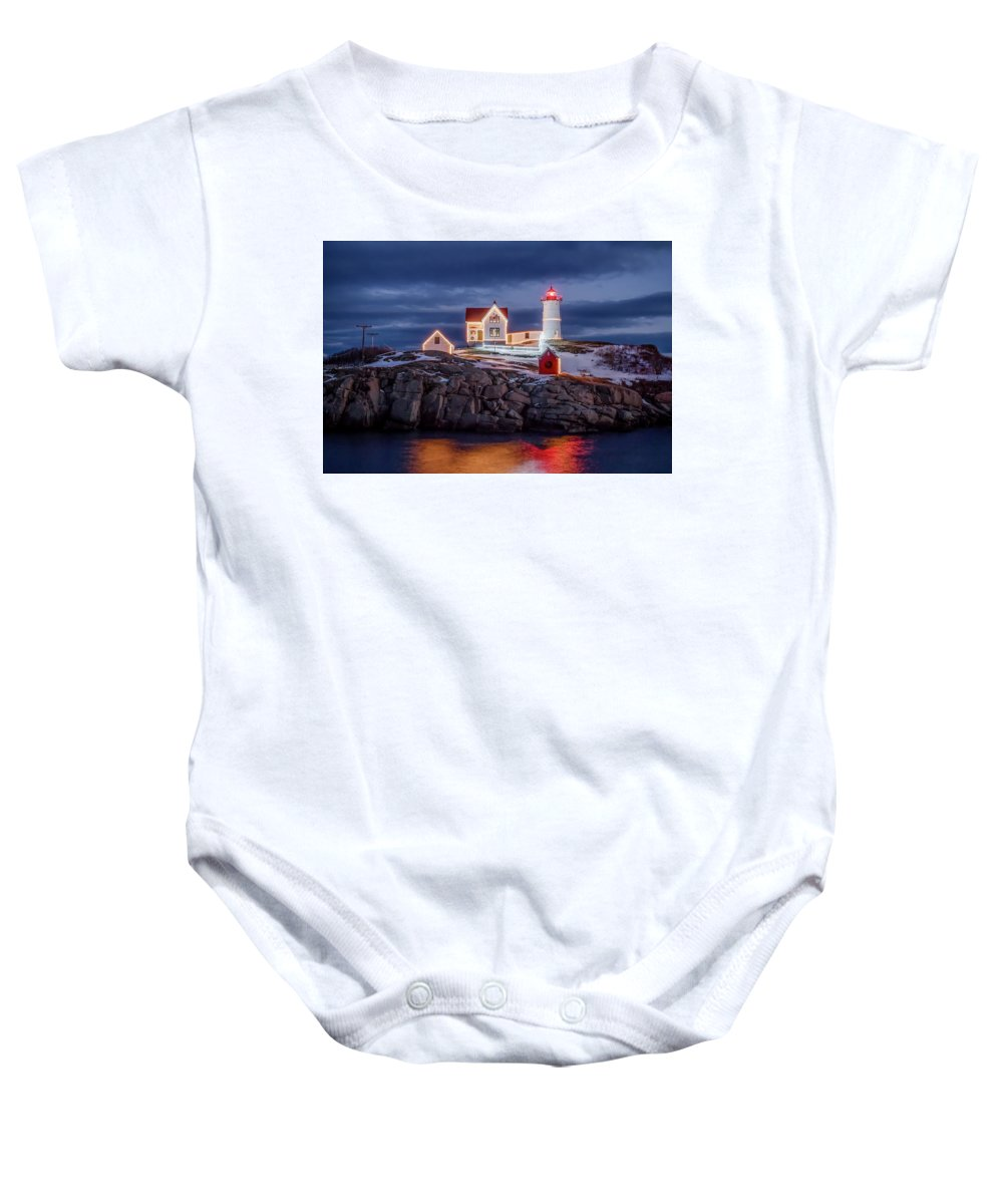 York Maine Baby Onesie featuring the photograph Nubble Light Christmas by Larry Richardson