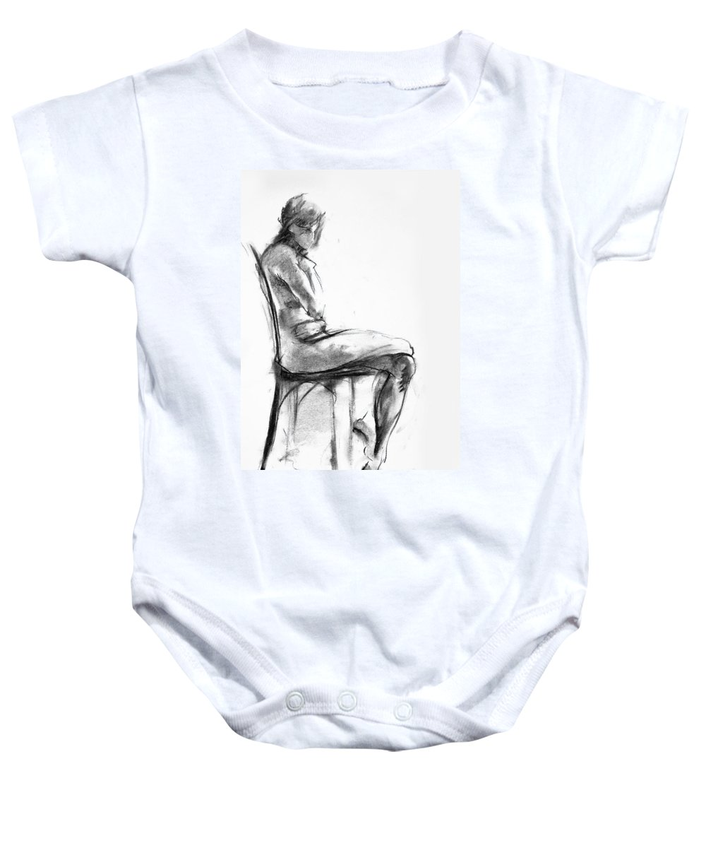 Nude Baby Onesie featuring the drawing Nude 1 by Ani Gallery