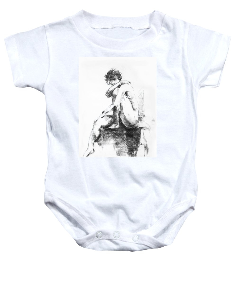 Nude Baby Onesie featuring the drawing Nude 11 by Ani Gallery
