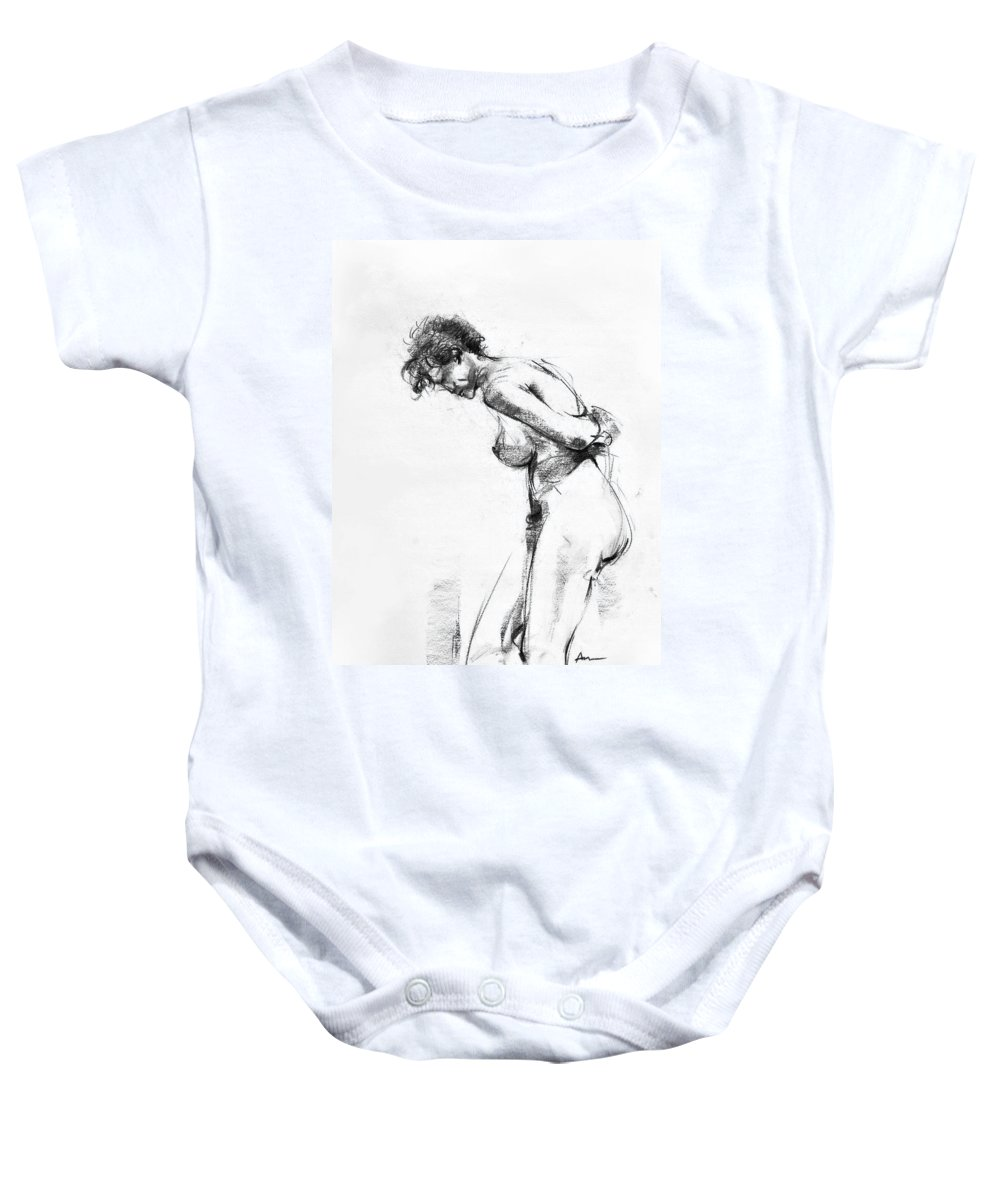 Nude Baby Onesie featuring the drawing Nude 2 by Ani Gallery