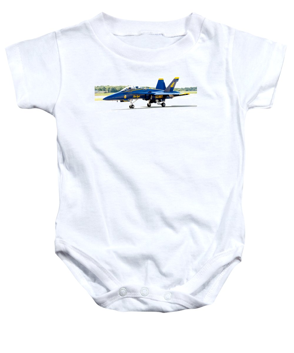 Blue Angel Baby Onesie featuring the photograph Number 4 by Greg Fortier