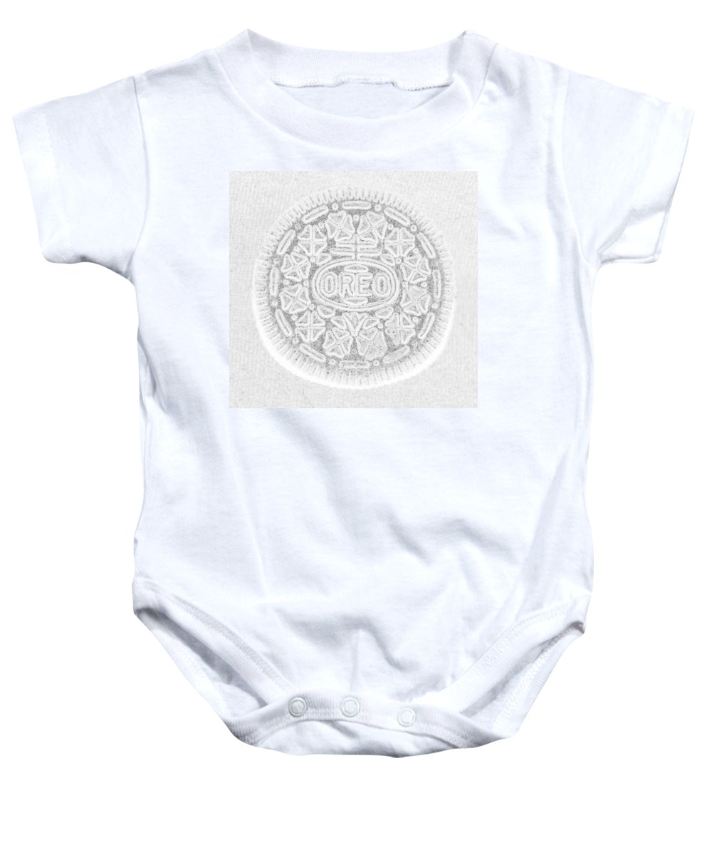 Oreo Baby Onesie featuring the photograph O R E O In White by Rob Hans