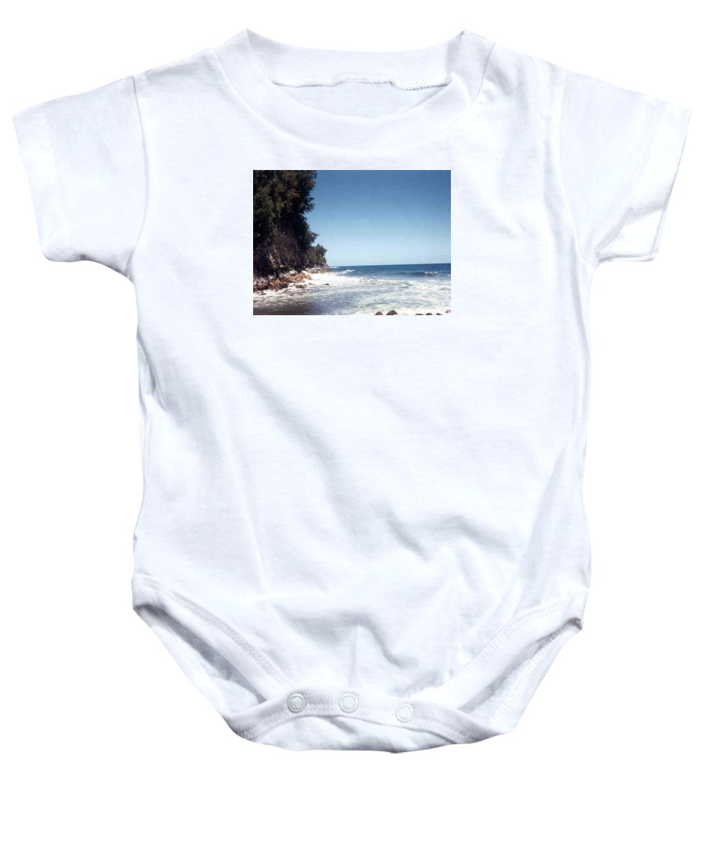 Hawaii Baby Onesie featuring the photograph Ocean Cliffside by Our Place Of Joy