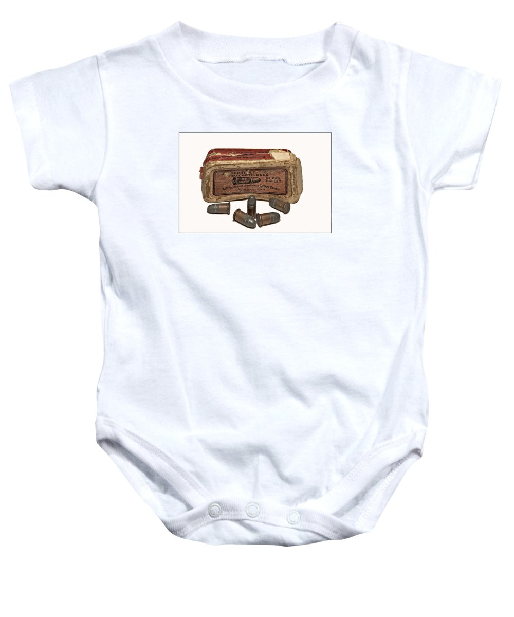 Antique Baby Onesie featuring the photograph Old Bullets by Susan Leggett
