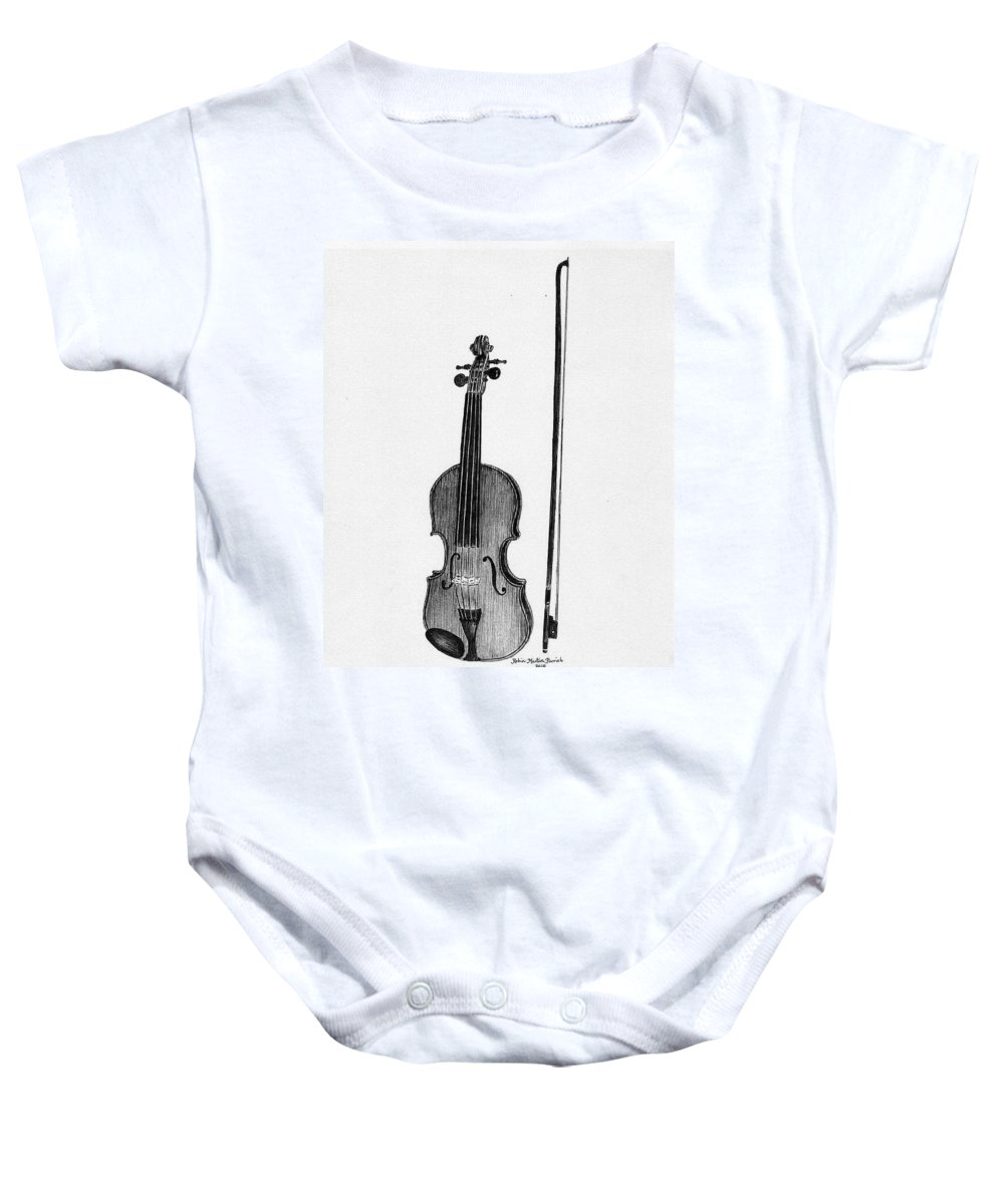 Fiddle Baby Onesie featuring the painting Old Fiddle by Robin Martin Parrish