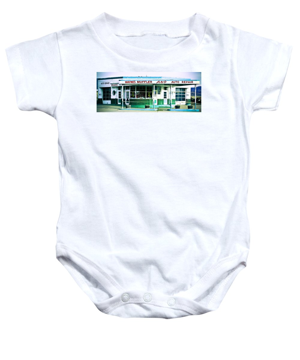 Americana Baby Onesie featuring the photograph Old Gas Station Green Tile by Marilyn Hunt