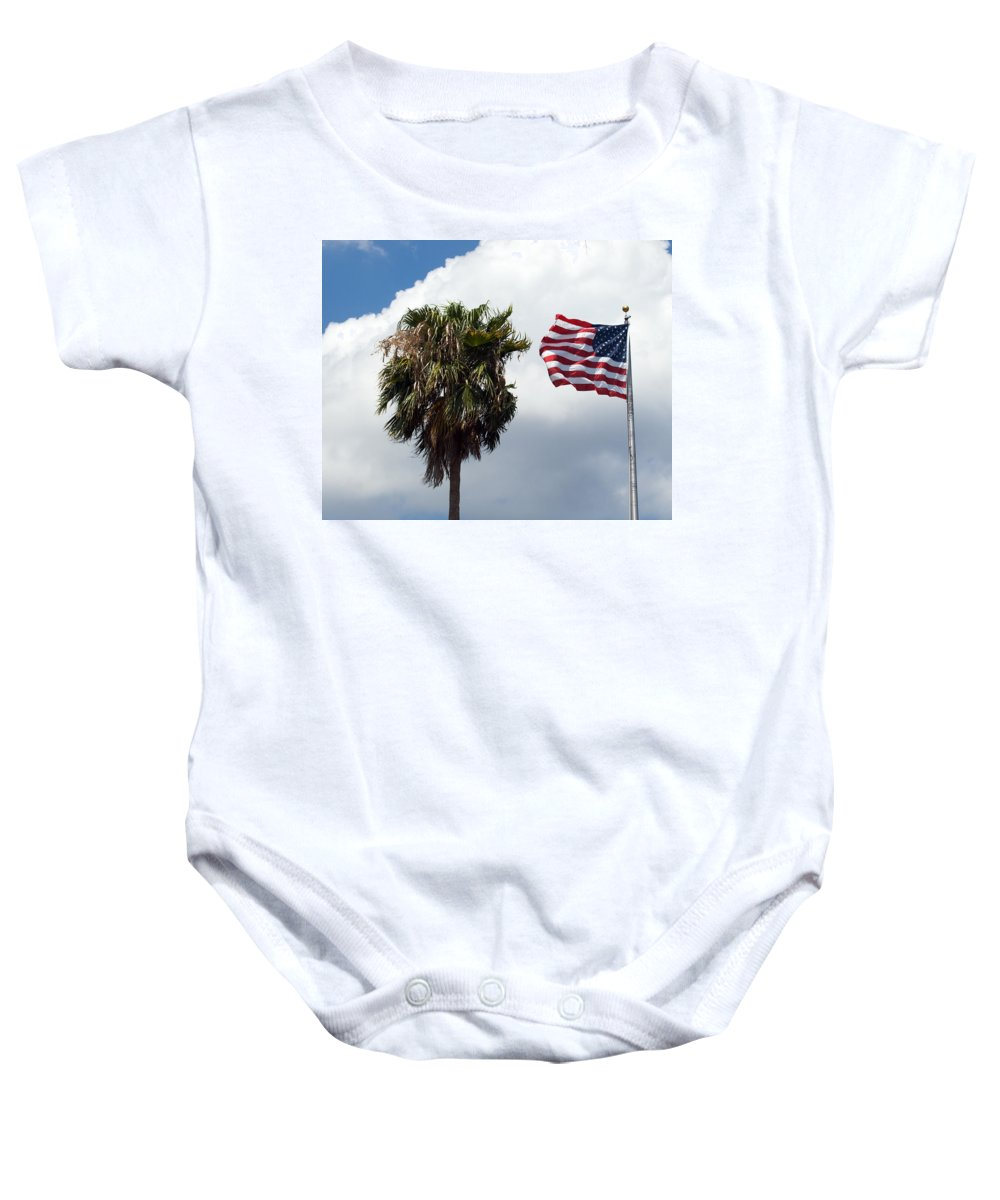 Florida; Titusville; Space; Coast; Astronauts; Astronaut; Cape; Canaveral; Mercury; Project; Freedom Baby Onesie featuring the photograph Old Glory Monument At Titusville Florida by Allan Hughes