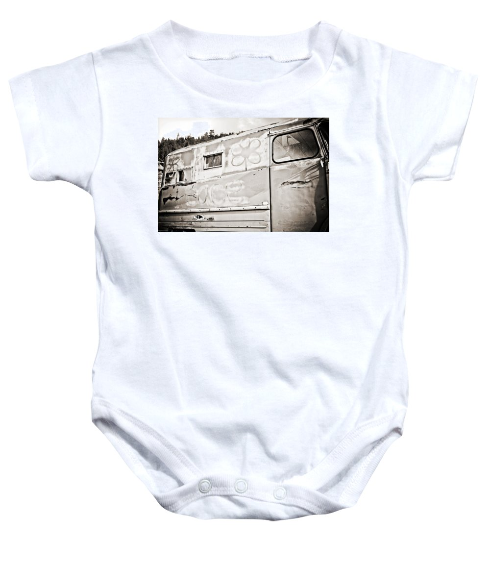 Americana Baby Onesie featuring the photograph Old Hippie Peace Van by Marilyn Hunt