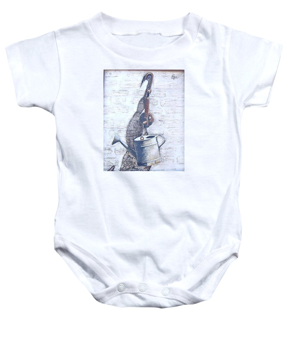 Old Metal Still Life Baby Onesie featuring the painting Old Metal by Natalia Tejera