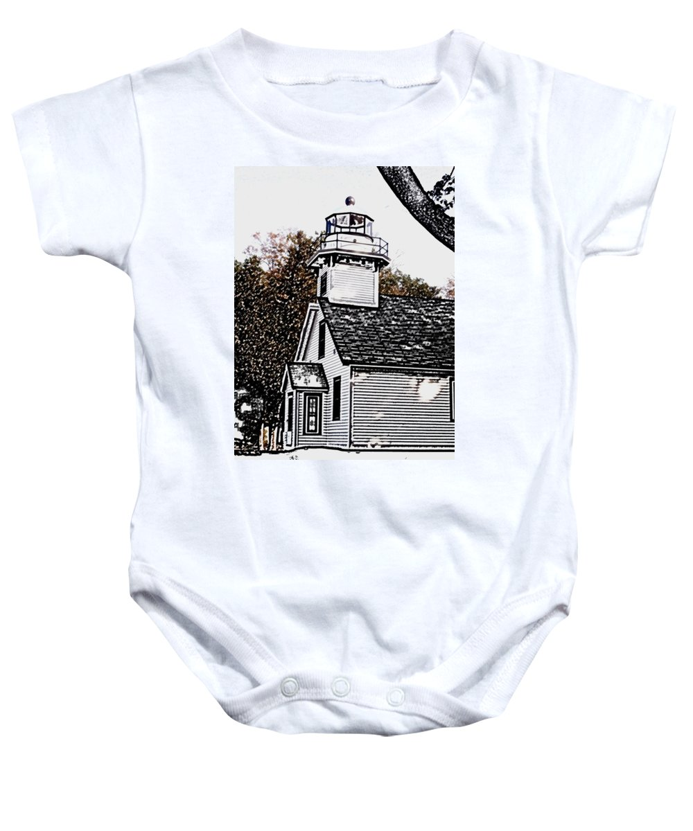 Altered Baby Onesie featuring the photograph Old Mission Point by Wayne Potrafka
