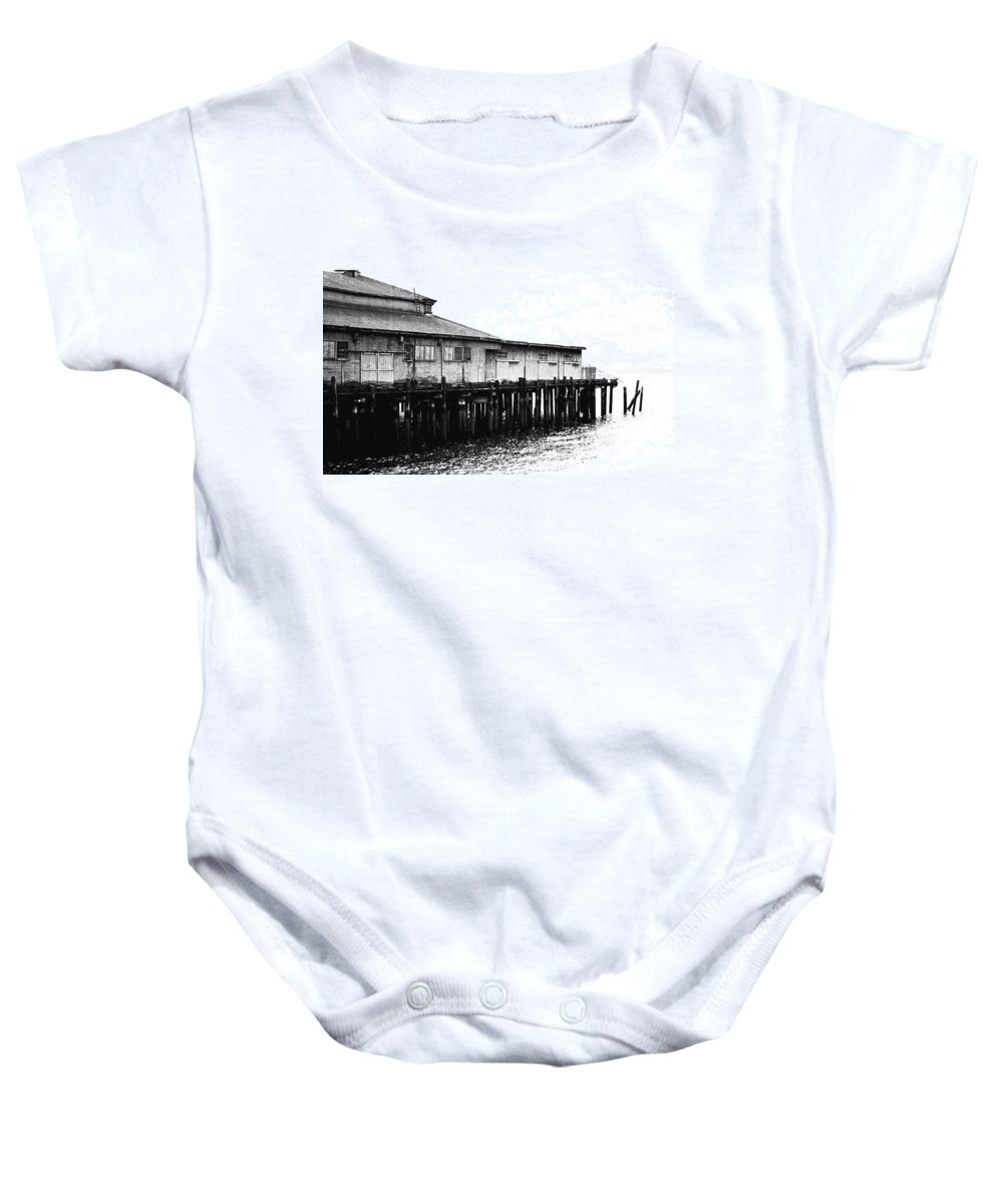 History Baby Onesie featuring the photograph Old Pier by Karen Ulvestad
