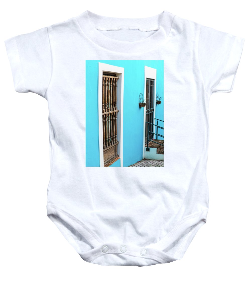 Colorful Baby Onesie featuring the photograph Old San Juan House In Historic Street In Puerto Rico by Jasmin Burton