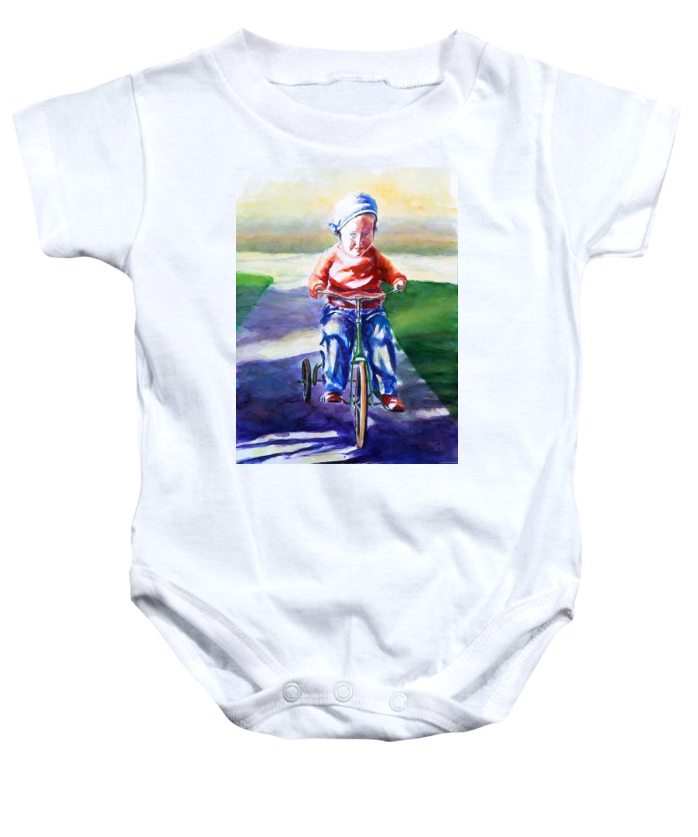 Girl Baby Onesie featuring the painting Old Soul by Shannon Grissom