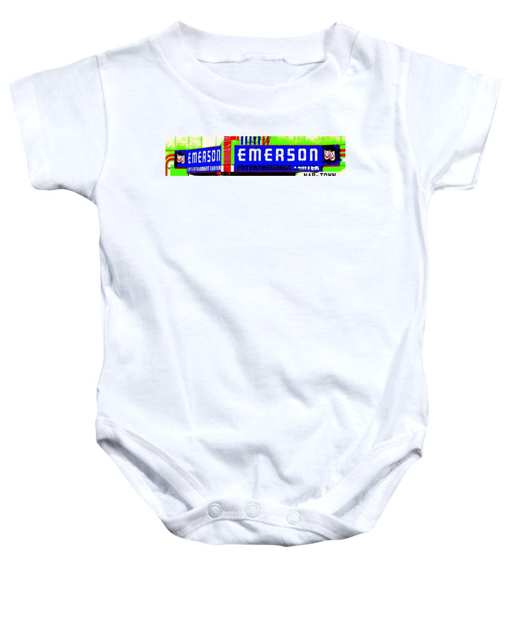 Music Baby Onesie featuring the photograph Old Theater by Ed Smith