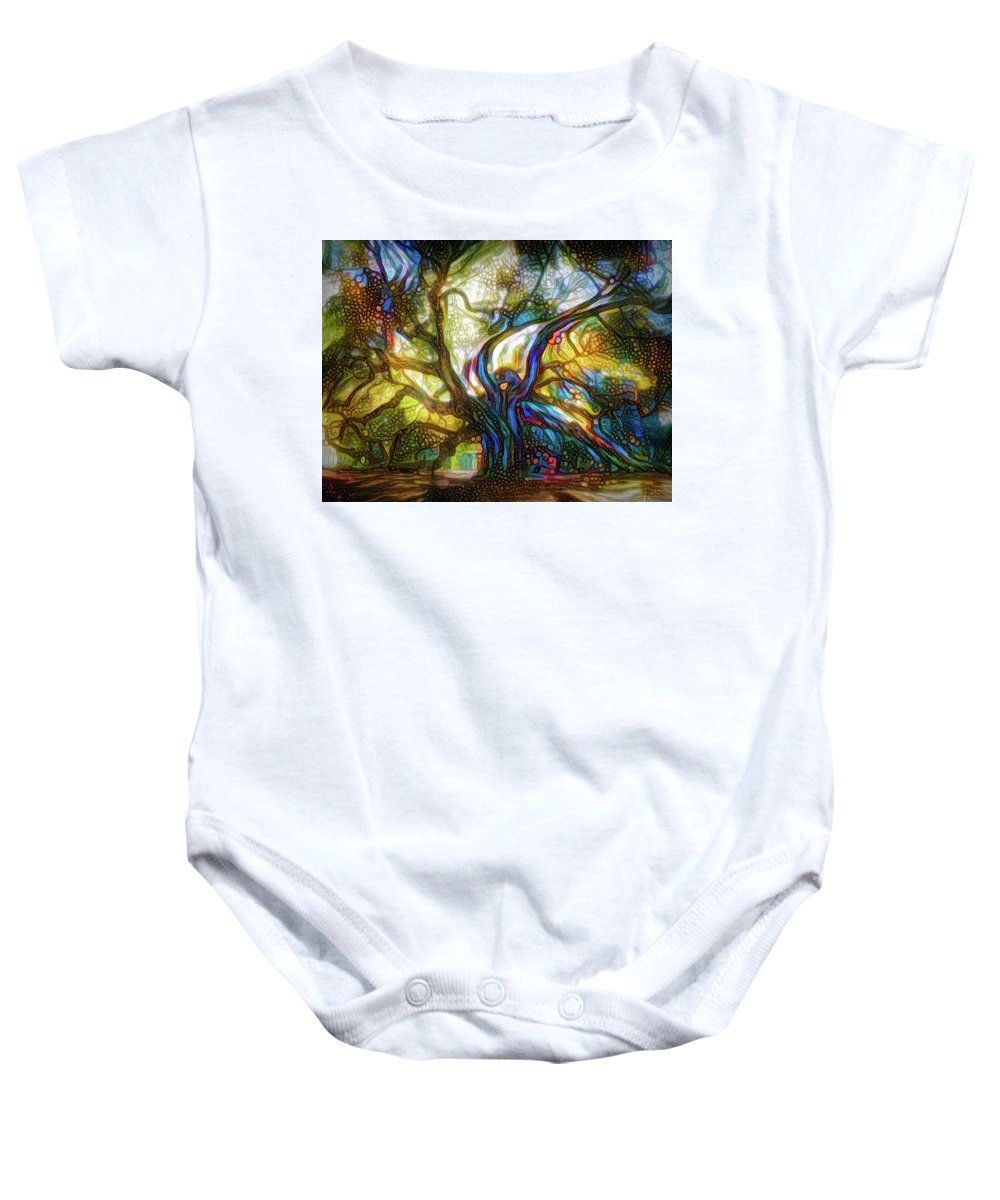 Magical Tree Baby Onesie featuring the mixed media Old Tree by Lilia D