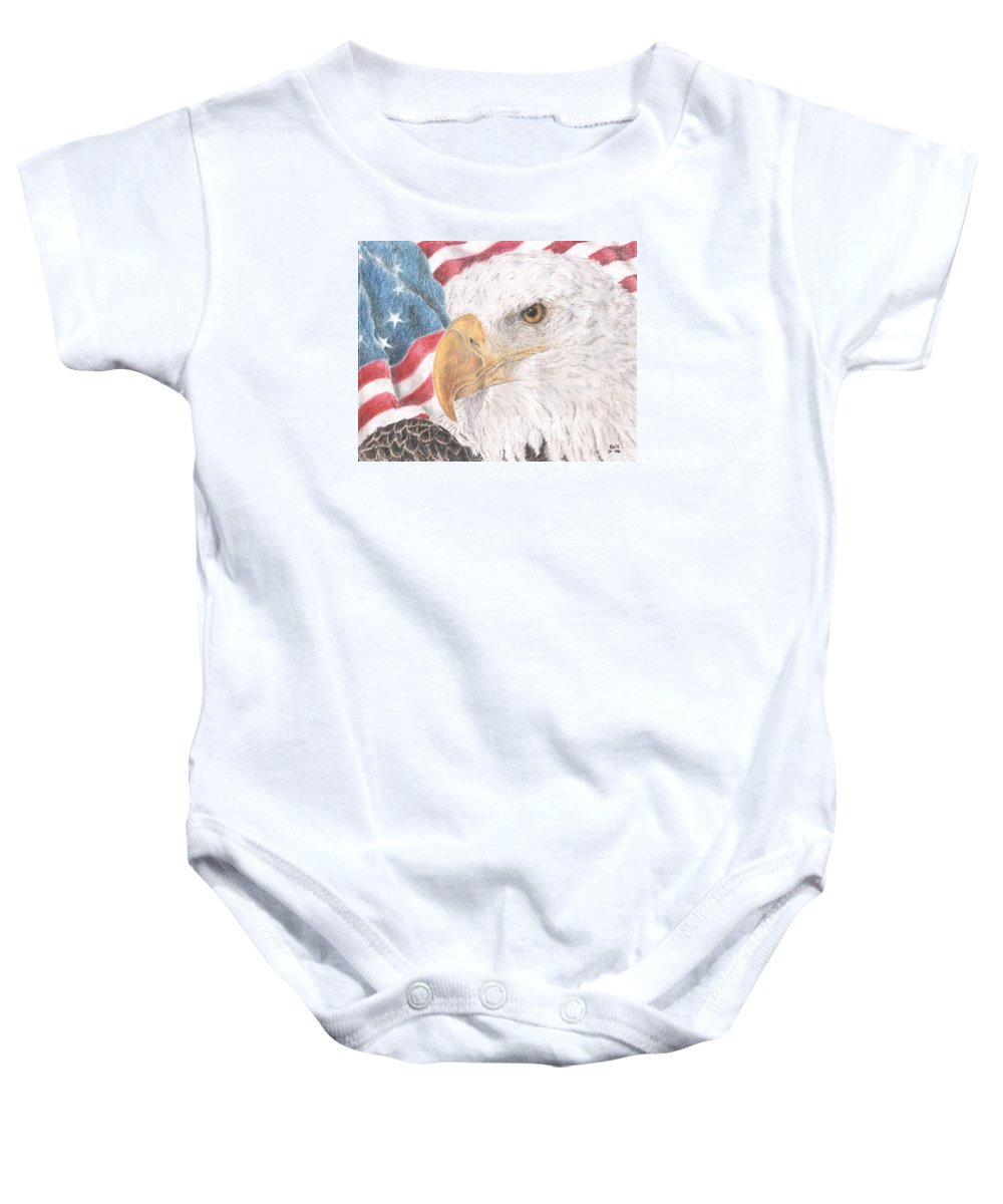 Eagle Baby Onesie featuring the drawing Old Values by Pris Hardy