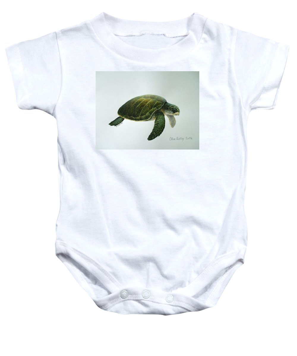 Olive Ridley Turtle Baby Onesie featuring the painting Olive Ridley Turtle by Christopher Cox