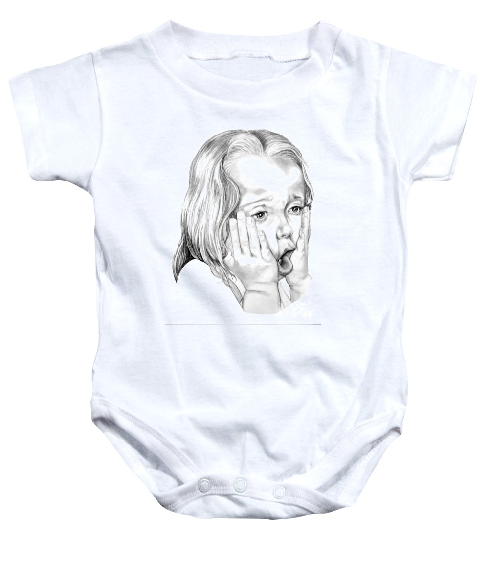 Portrait Baby Onesie featuring the drawing OMG by Murphy Elliott