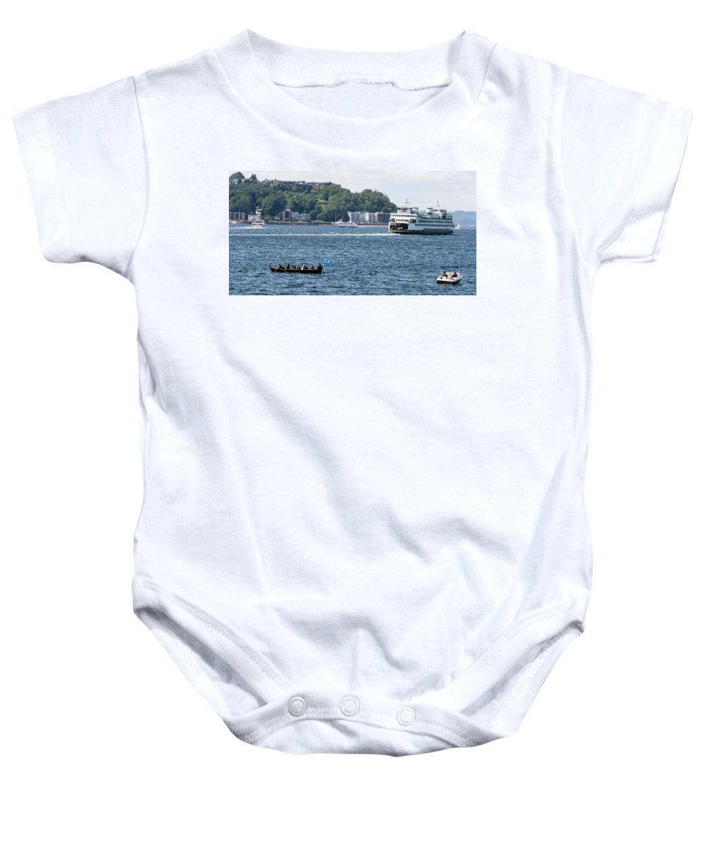 Seattle Baby Onesie featuring the photograph On Puget Sound by Robert Briggs