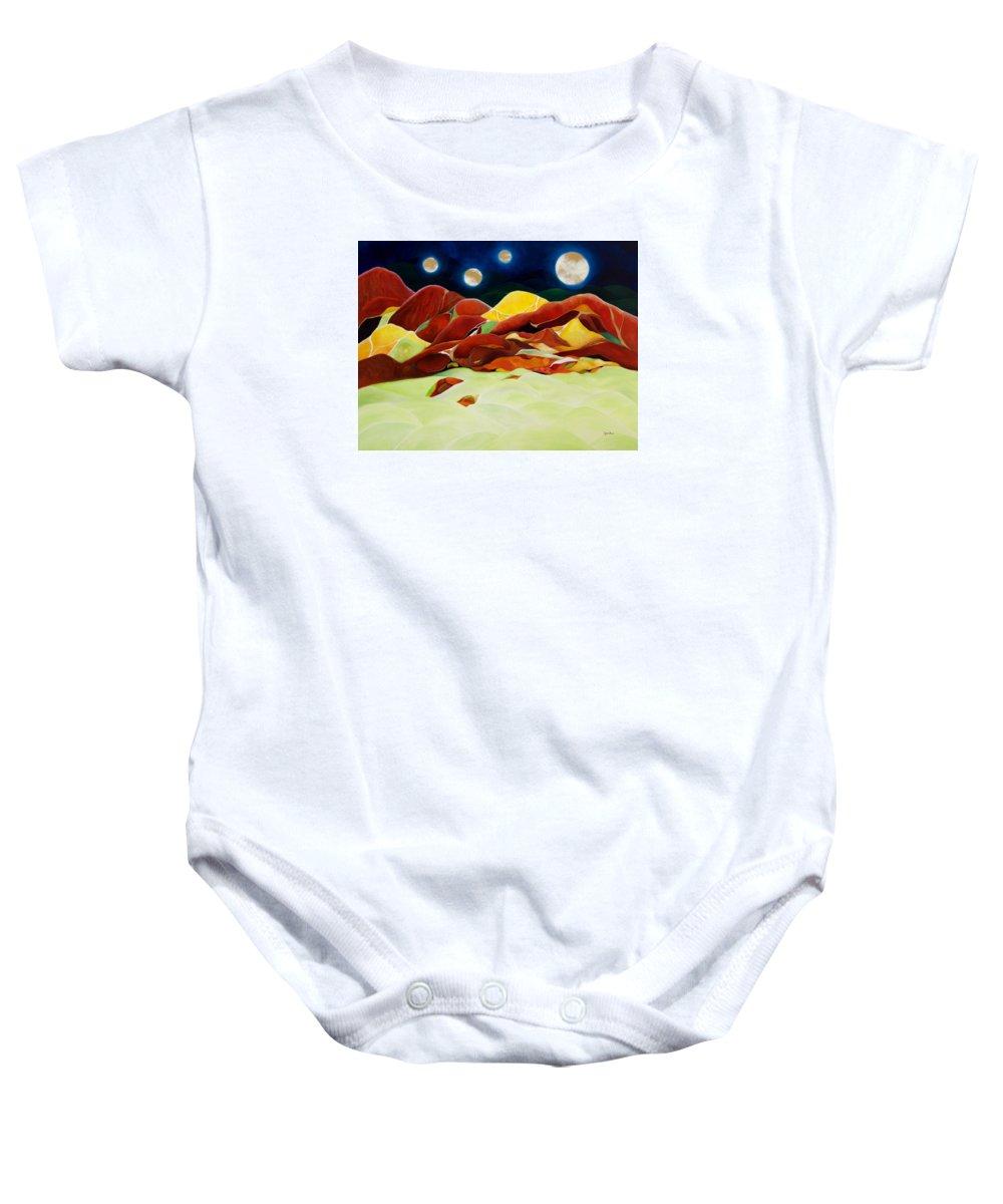 Oil Baby Onesie featuring the painting One Step Up From Third by Peggy Guichu