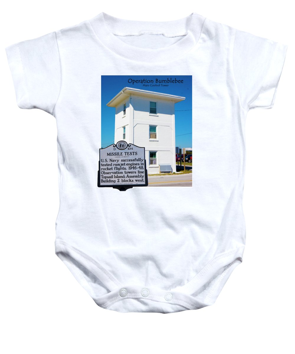 Topsail Island Baby Onesie featuring the digital art Operation Bumblebee Control Tower by Betsy Knapp