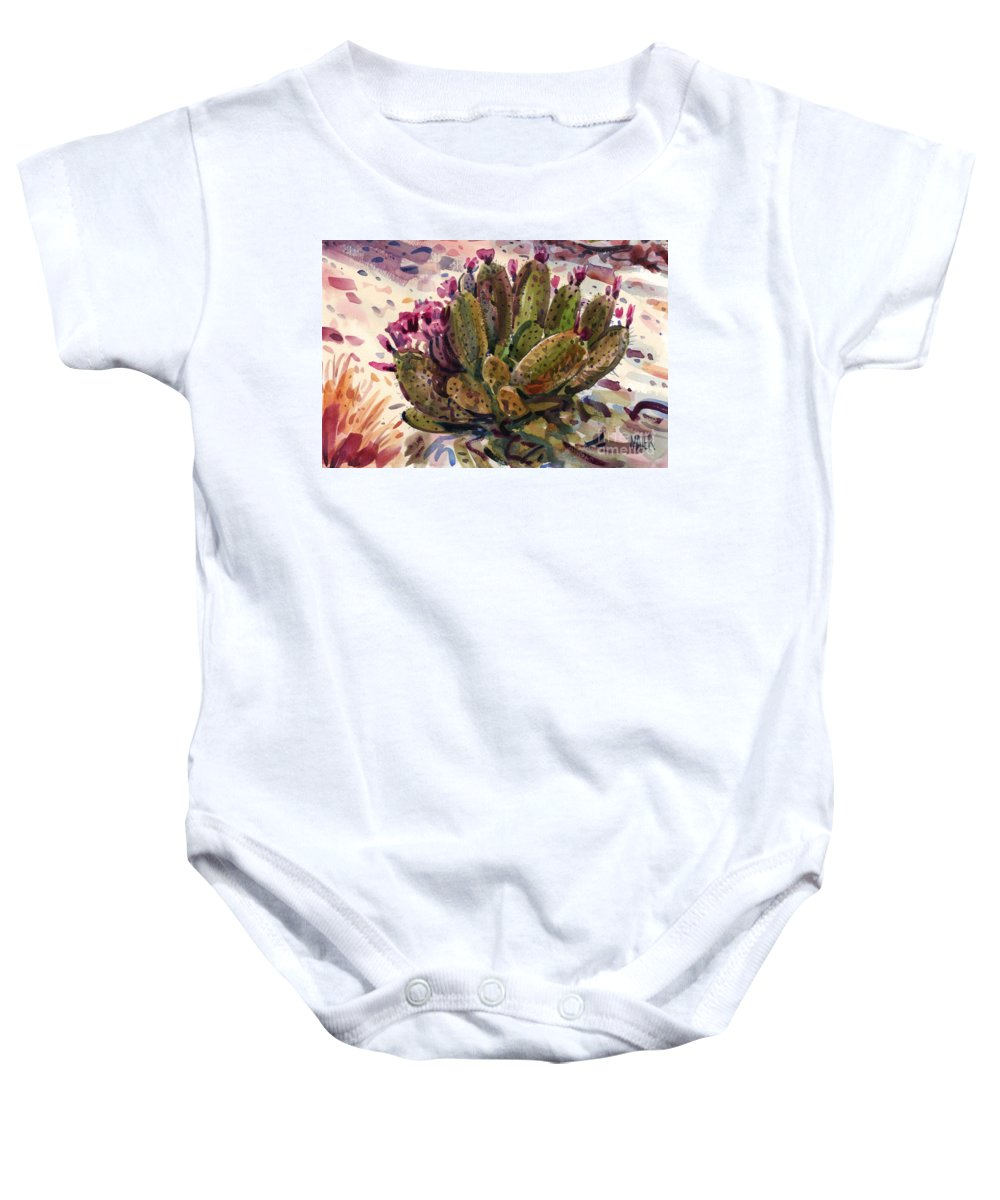 Opuntia Cactus Baby Onesie featuring the painting Opuntia Cactus by Donald Maier