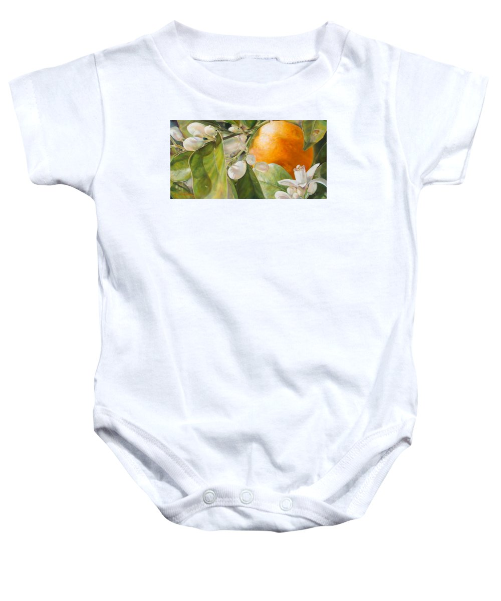 Floral Painting Baby Onesie featuring the painting Orange Fleurie by Dolemieux