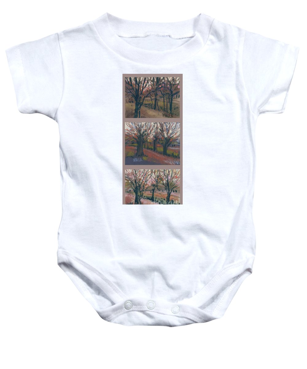 Pastel Baby Onesie featuring the drawing Orchard Sunset by Donald Maier