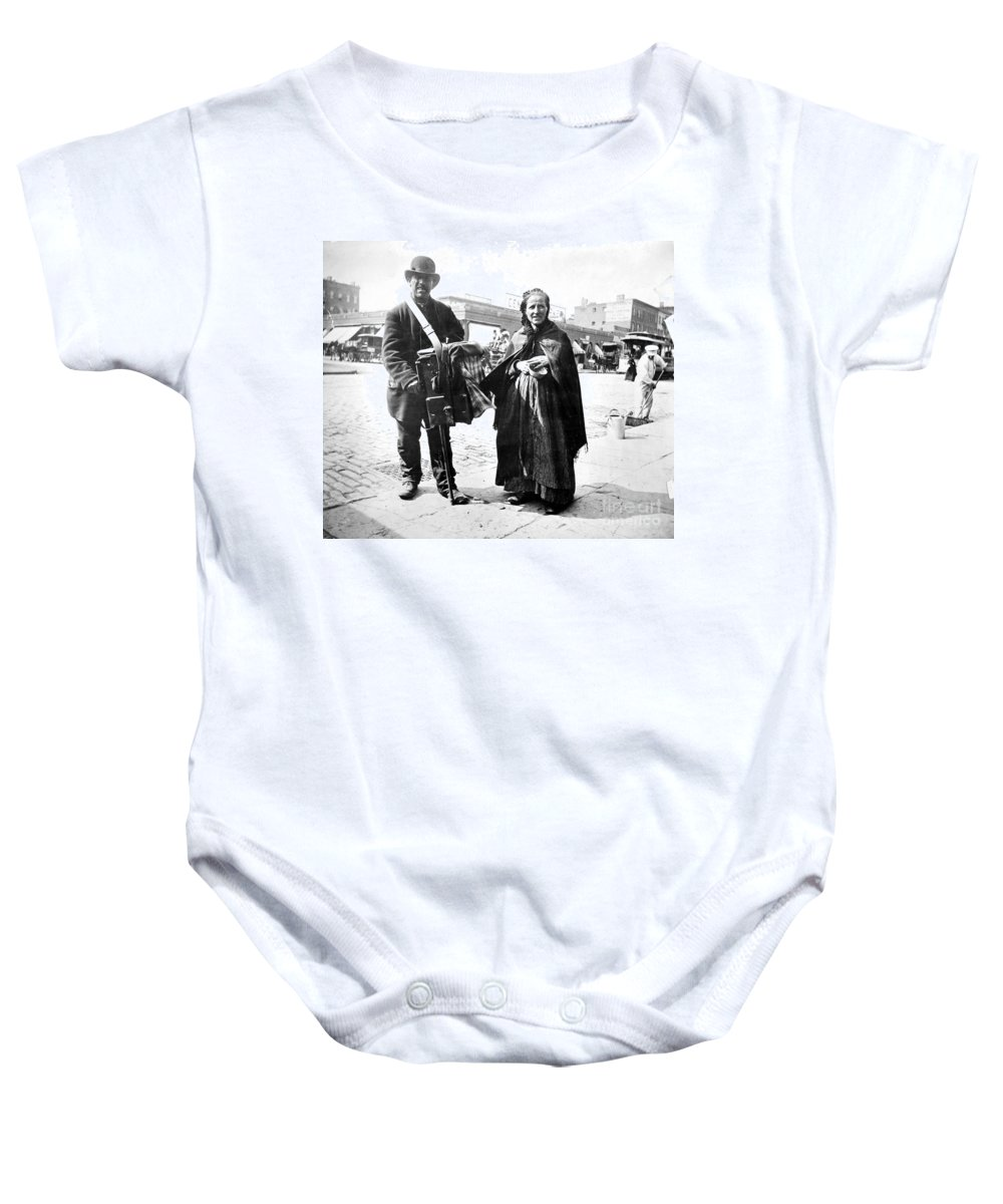 1897 Baby Onesie featuring the photograph Organ Grinder, 1897 by Granger
