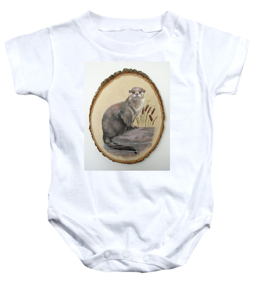 Playful Baby Onesie featuring the painting Otter - Growing Curiosity by Brandy Woods