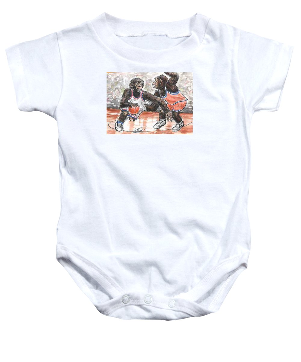 Basketball Baby Onesie featuring the painting Out Of My Way by George I Perez